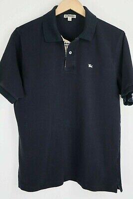 Burberry London Mens sz Large Black Nova Check Mesh SS Polo Shirt