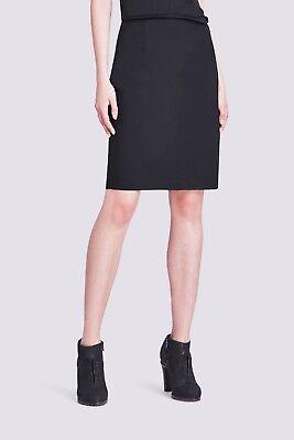 NWT $198 Elie Tahari Pencil Career Black Suiting Wool Bennet Back Slit Skirt  8
