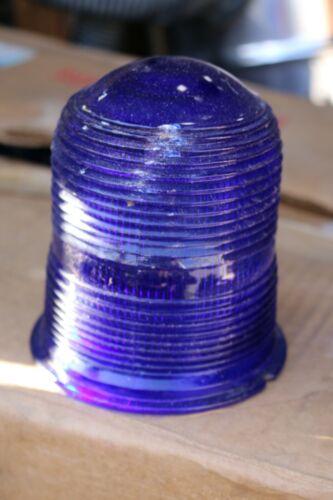RARE Menominee Michigan used KOPP cobalt blue airport runway light globes/lens