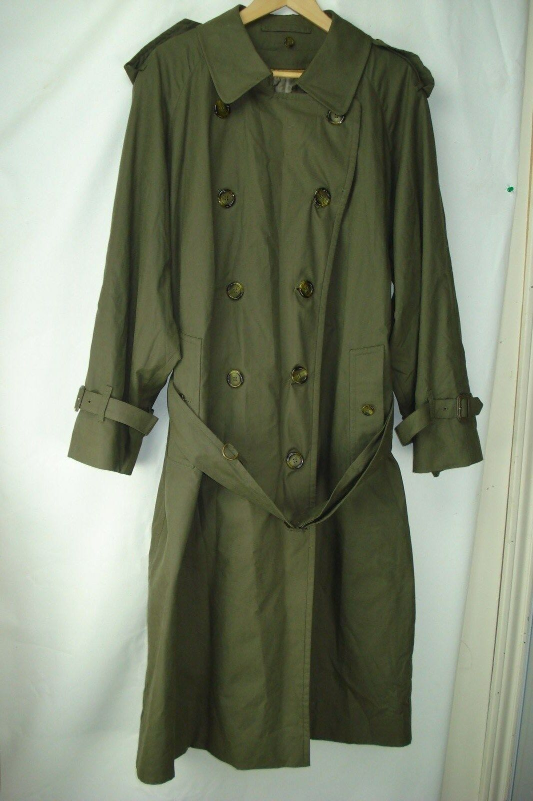 'BURBERRYS' OF LONDON OLIVE GREEN MEN'S LONG TRENC