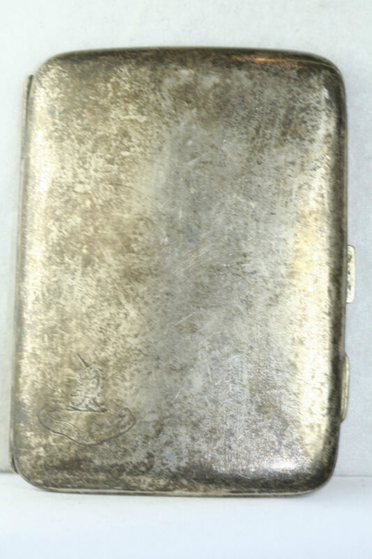 ANTIQUE A & JZ ZIMMERMAN LATIN ENGRAVED STERLING SILVER CIGARETTE CARD CASE