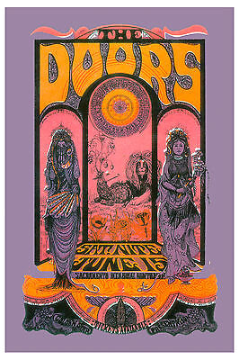 Rock: Jim Morrison & The Doors at Sacramento Concert Poster 1970  2nd Print