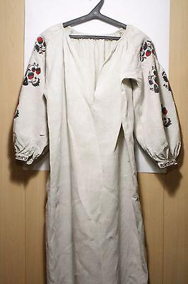 Antique Ukrainian embroidery Women's Flax linen shirt dress