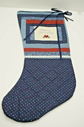 Handcrafted Christmas Stocking Quilted , Cross Stitch, Merry Christmas 21 in