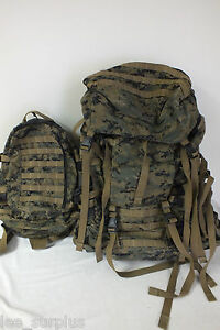 USMC-GEN-1-ILBE-MARPAT-MAIN-PACK-w-ASSAULT-PACK-BELT-LID-GENUINE-US-MILITARY