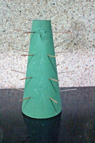 """APPLE CONE Wood Form w/ Nails ~11"""" Fruit Pineapple Centerpiece"""