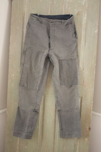 Pants French Vintage Clothing Workwear Gray ribbed patched 30 inch waist 1910