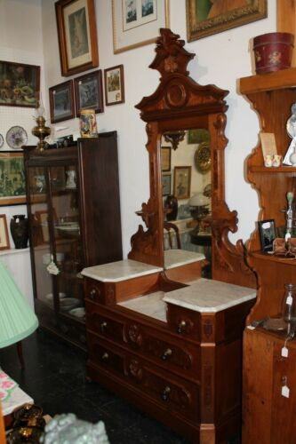 Victorian Walnut Marble Top Dresser