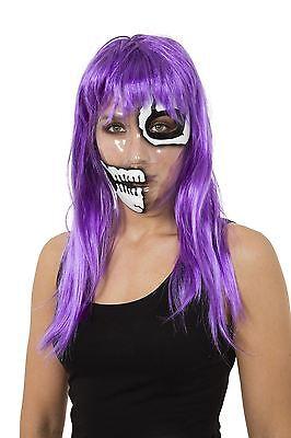 Transparente Maske Skeleton 1/2 Face Print, Halloween-Abendkleid-Partei #DE