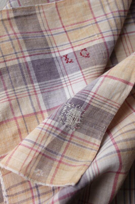 Antique French plaid check napkin bandana neckerchief towel FADED repaired