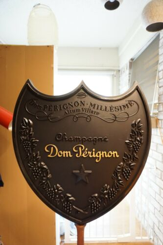 Rare Dom Perignon Champagne Giant 3-Dimensional Shield Promo Sign Man Cave Bar