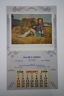 Original 1948 Cow Girl Pinup Advertising Calendar - Monroe, Michigan Ins. Agent