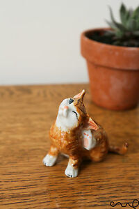 Cute Ceramic Ginger Cat Kitten Figurines Animals Miniature Collectable Ornament