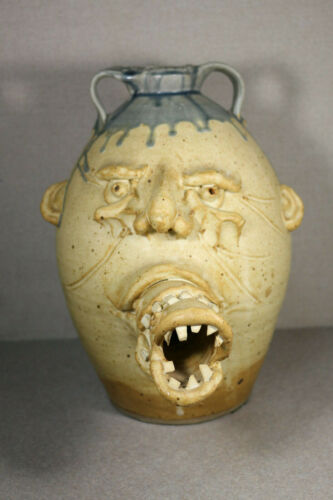 """""""Fish Breath"""" Ugly Jug 13"""" Tall Stoneware Pottery Artist Stamped"""