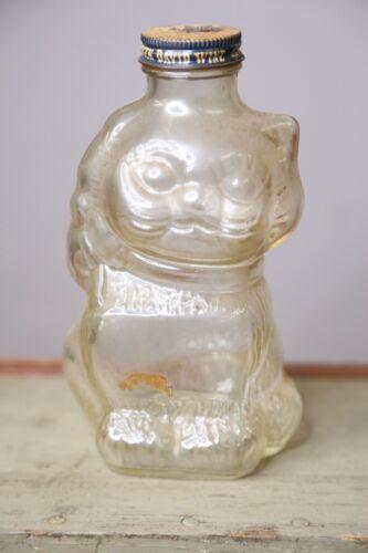 Vintage Cat Glass Jar Coin Bank Honey Jam with Mogen David Wine Tin Lid antique