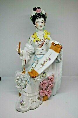 "Japanese Geisha Ceramic//Porcelian White Figurine 3 1//4"" Tall"