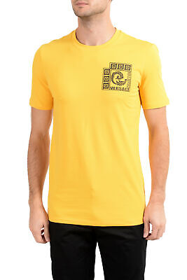 Versace Collection Men's Yellow Graphic Crewneck T-Shirt Sz S M L XL 2XL