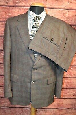 Hickey Freeman Men's Wool Plaid 2 Front Button Suit Sz 42L Wst 36x34