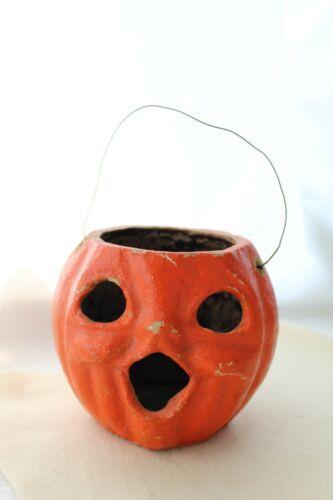 Antique/Vintage Paper Mache Pumpkin Halloween Decoration Lantern. No Insert.