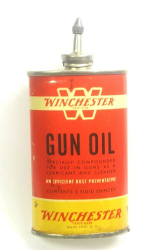 VINTAGE WINCHESTER GUN OIL LEAD TOP 3 OZ. CAN ( WHITE BAND W )