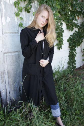 French Workwear work wear Black School smock duster jacket coat chorewear long