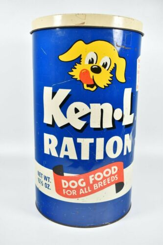 "Vintage Ken-L Ration Dry Dog Puppy Food Advertising Tin Can Bank Large 18"" Rare"
