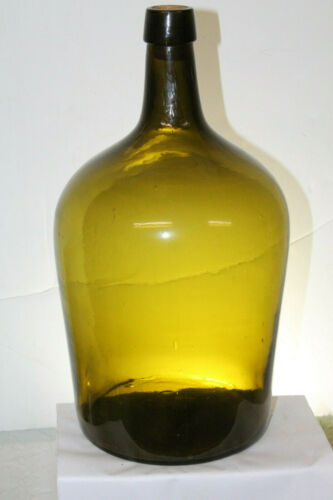 Early Nice Color Olive Amber Green Demijohn 14