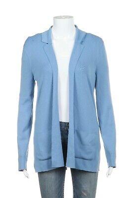MALO Knit Cardigan Size IT 42 Medium 100% Virgin Wool Blue Open Front Sweater