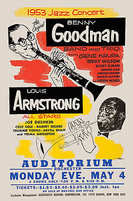JAZZ: Louis Armstrong & Benny Goodman w/ Gene Krupa Concert Poster Circa 1953