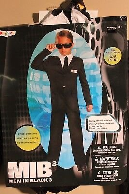 MEN IN BLACK BOYS COSTUME Small Medium Halloween MIB3 Suit Secret Agent Spy NEW