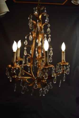 ANTIQUE VINTAGE ITALIAN GOLD GILT  CHANDELIER CRYSTAL PRISMS Swag Light