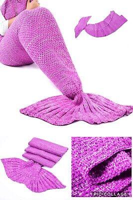 LAGHCAT Mermaid Tail Blanket Crochet for Adult Soft Pink
