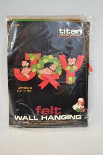"Vtg. 1984 Titan JOY Bears Fabric Felt Wall Hanging Kit 8.5 x 19.5"""