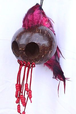 "Red Ikaika Hawaiian Warrior Coconut Helmet ~ 3"" Coconut  # WR-0002 (Red)"