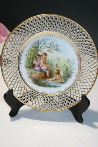 7 Vintage Porcelain Ernst Wahliss Plates with Angel Cherubs Fairy - Reticulated