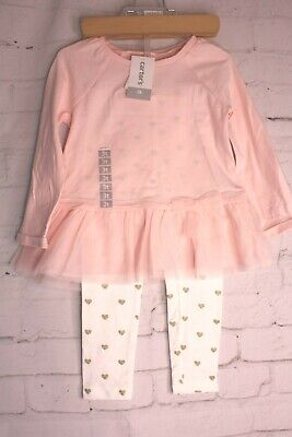 Carters Pink 2 Piece - Carters 2 Piece Pink Girls Tunic Legging Outfit Gold Glitter Sizes 6 mo 18 mo 3T