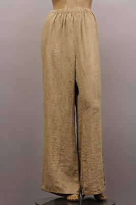 FLAX SELECT LINEN PLUS SIZE BOOTLEG IT FLARE PANT WIDE LEG CARAMEL CHAMBRAY 2G