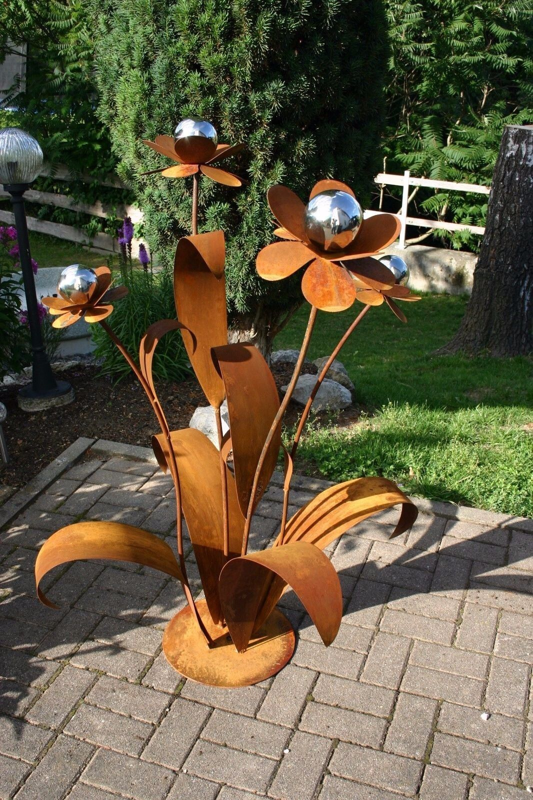 Edelrostblume XXL Edelrost Blume, Gartendeko Rost Metallblume