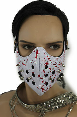 Men Face Mask Mouth Muzzle Costume White Halloween Hannibal Blood Spikes Scary - Scary White Face