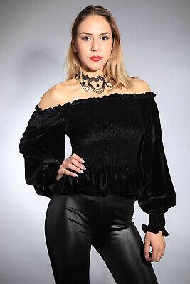 Samt Carmen Bluse weite Ballon Ärmel Gothic schwarz black Velvet Vamp steampunk