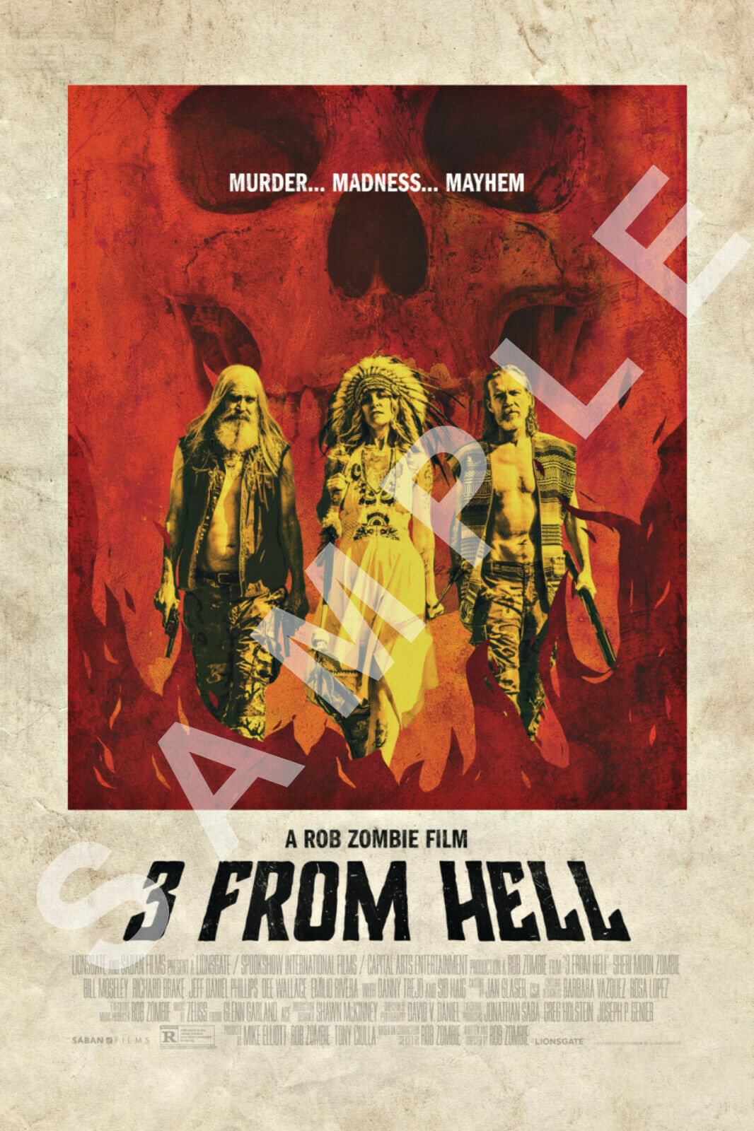 3 FROM HELL 12x18 MOVIE POSTER ROB ZOMBIE THE DEVILS REJECTS