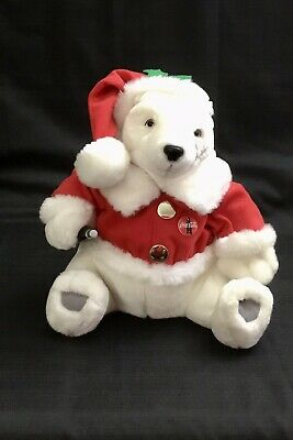 Vintage 1999 Musical Moving Coca-Cola Christmas Bear Jingle Bells