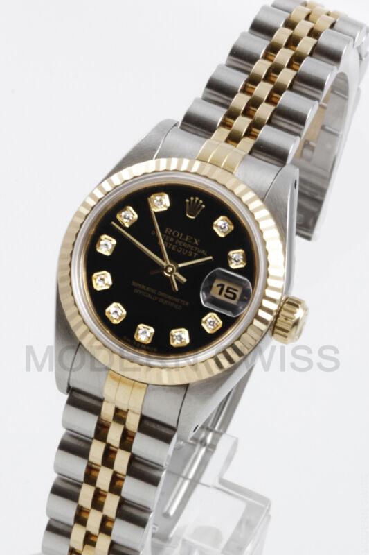 Rolex Ladies Datejust Gold & Steel Black Diamond Fluted Jubilee 2 Tone Perpetual