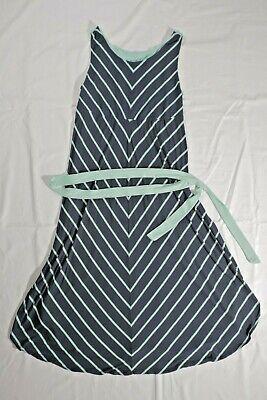 Liz Lange Maternity Dress  Size XL  Tank Top Summer Navy Blue Mint Green Striped