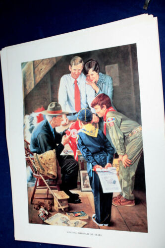 SCOUTING THROUGH THE EYES OF NORMAN ROCKWELL VINTAGE PRINT