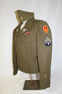 WWII US ARMY 25th INFANTRY DIVISION DRESS UNIFORM  & CAP DI CREST INSIGNIA