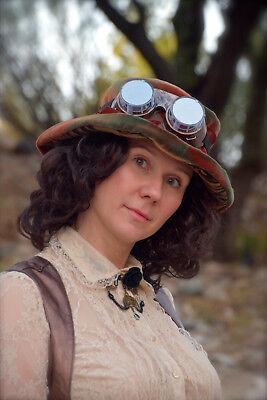Women Lace Victorian Vintage Blouse Shirt Steampunk Halloween Costume Vest Sz L