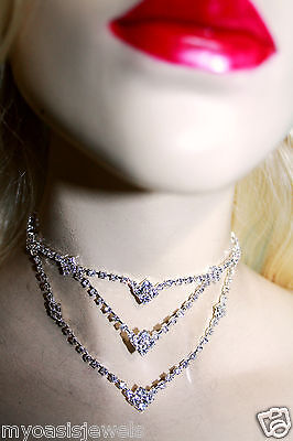 Austrian Crystal Rhinestone Necklace Choker Earring Set Bridal Prom Jewelry