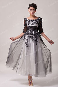 Black White 1950s long Evening Prom Party Masquerade Ball Gowns Dress PLUS SIZE