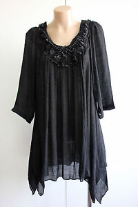 NEW FILO Beaded Rosette 3/4 Sleeve Tunic Top SIZES 10 12 14 16 18 20
